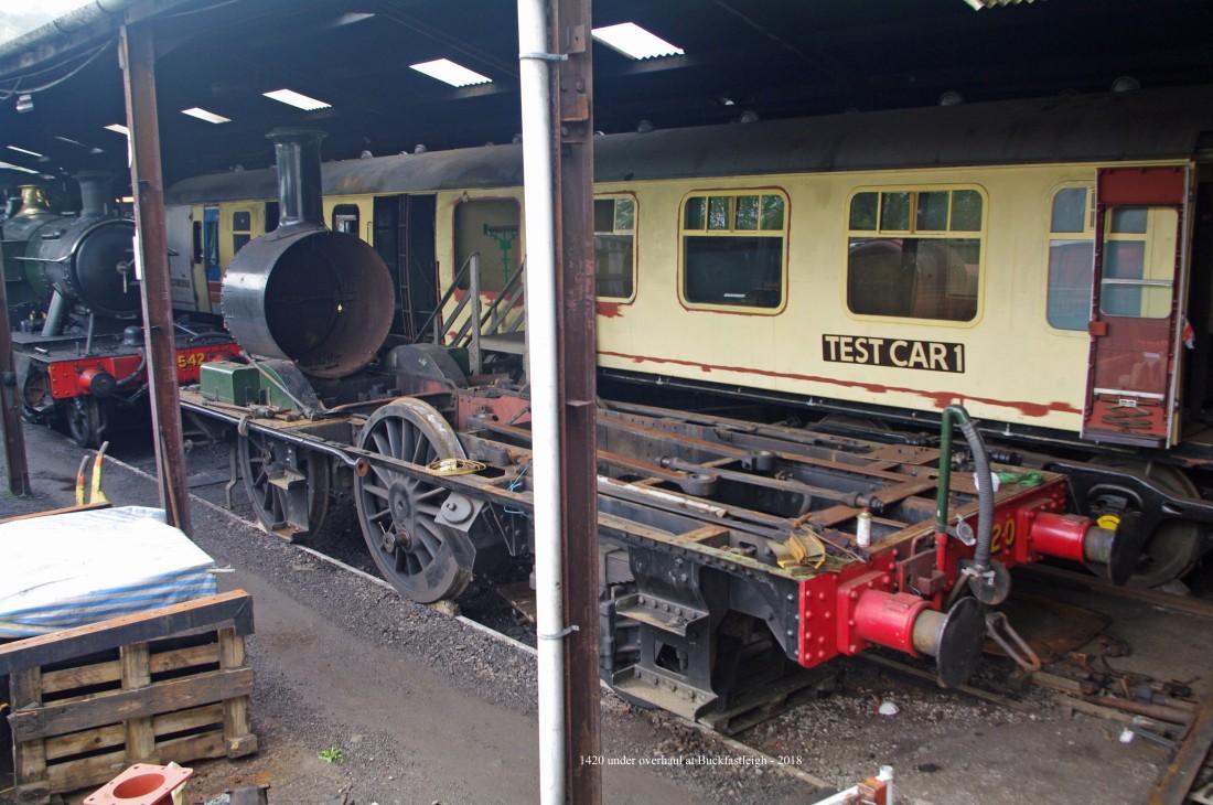 1420 under overhaul at Buckfastleigh on South Devon Railway - 2018.jpg