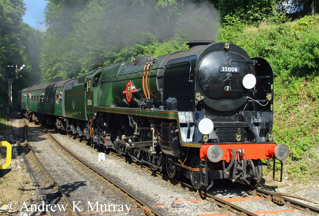 35006 Penninsular & Oriental SN Co on the Mid Hants Railway - July 2017.jpg