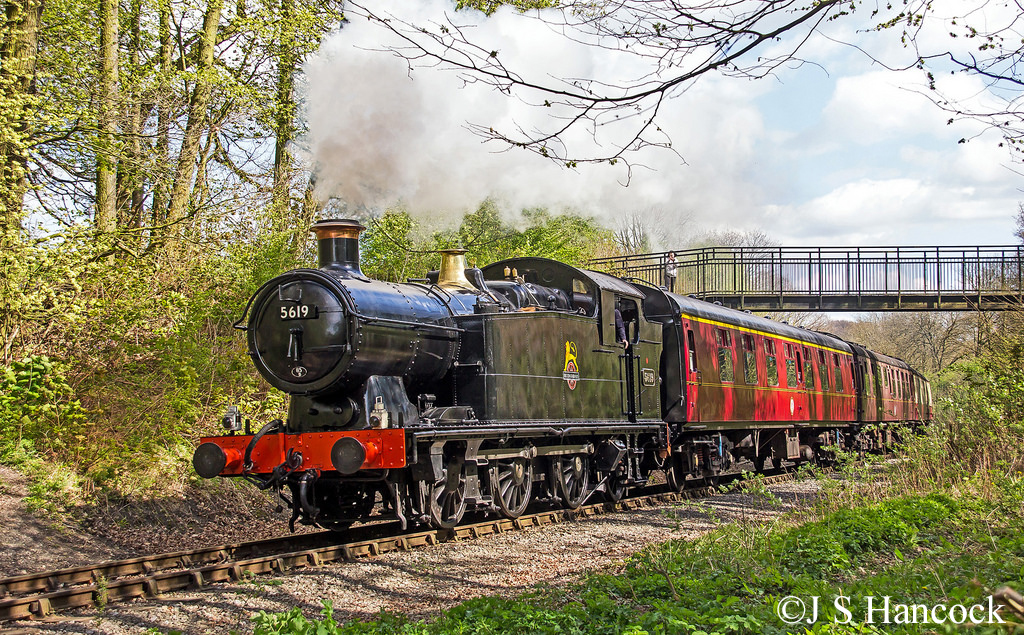 5619 works a Midland Railway Trust service from Ironville to Swanwick and Butterley April 2017.jpg