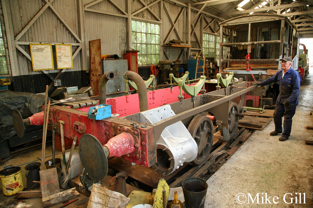 Hunslet 287 spends its first day standing on its own springs again, during restoration at Cottesmore - 28 July 2011.jpg