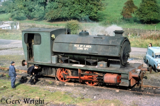 Yorkshire Engine 2474 on the Yorkshire Dales Railway freshly arrived from South Kirkby Colliery - October 1975.jpg