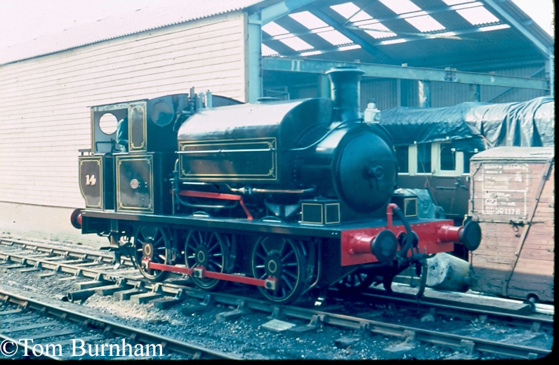 Manning Wardle 1955 at Tenterden Town on the Kent & East Sussex Railway - 1982.jpg