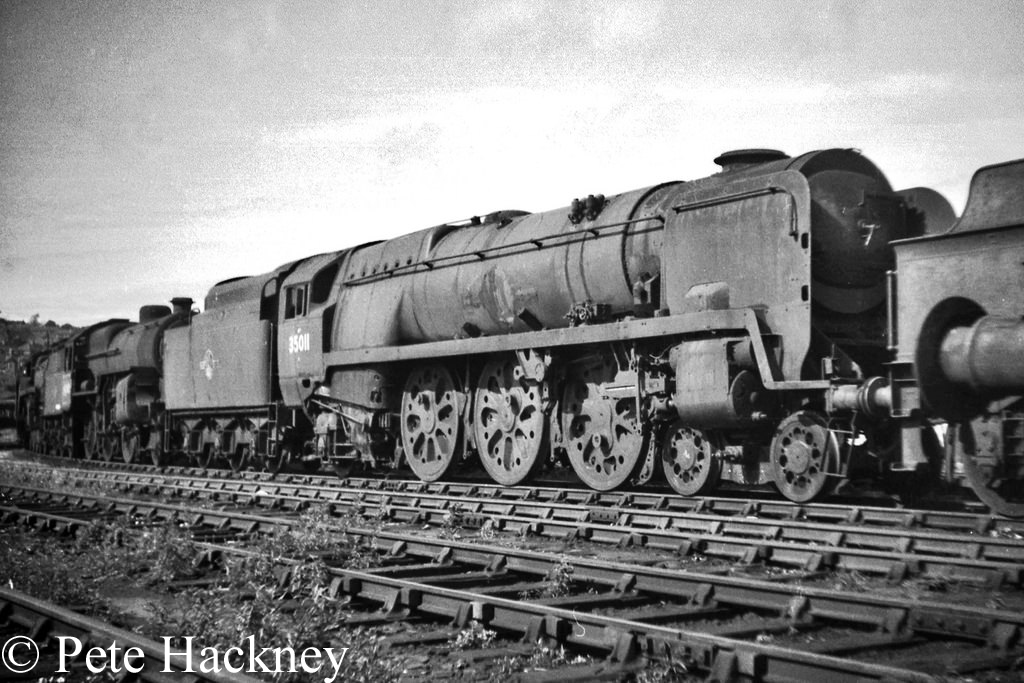 35011 General Steam Navigation in Woodham's scrapyard at Barry - July 1968.jpg