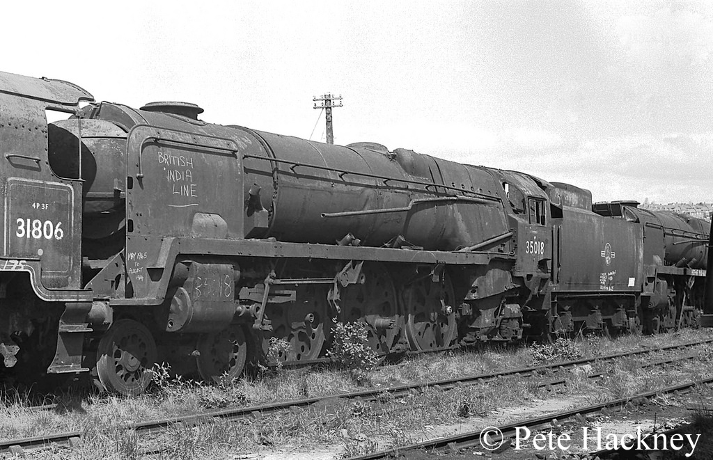 35018 British India Line in Woodham's scrapyard at Barry - 1975.jpg