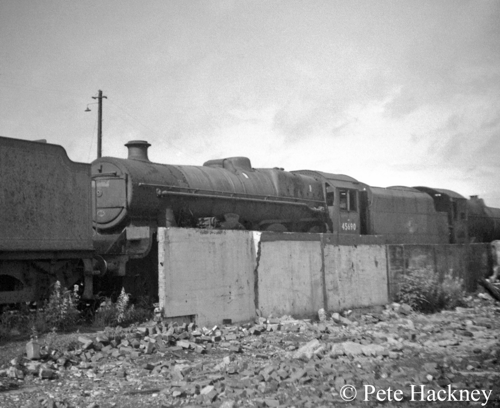 45690 Leander in Woodham's scrapyard at Barry - July 1968.jpg