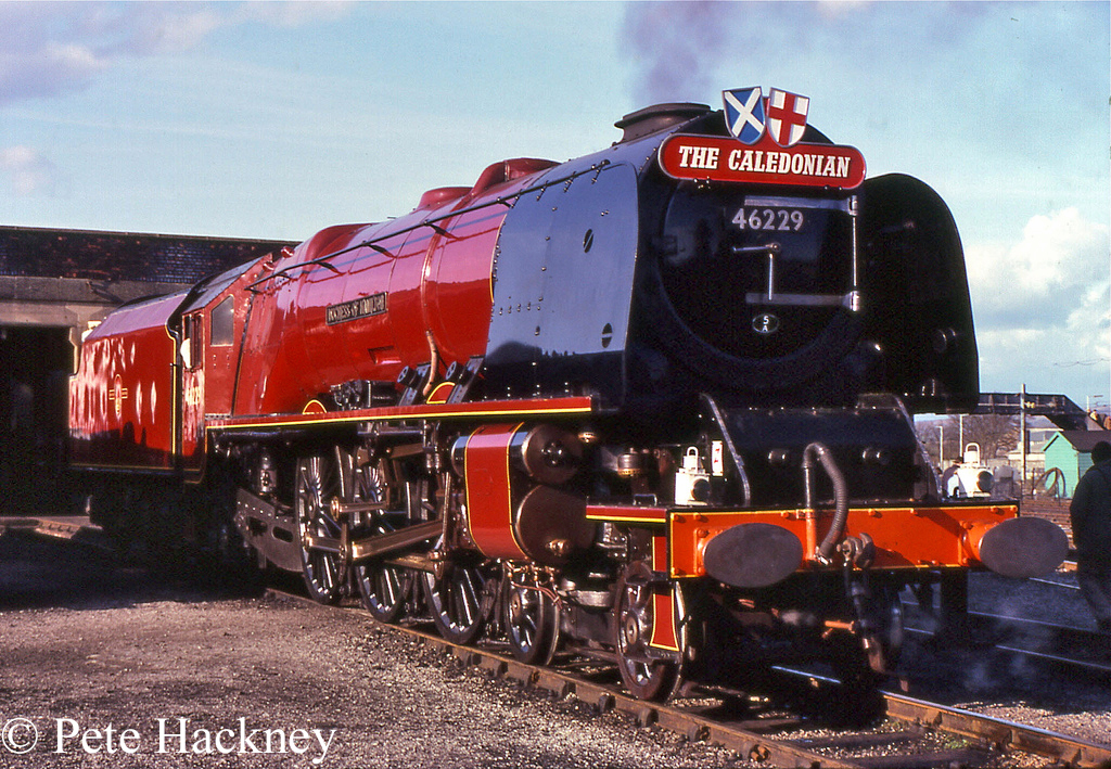 46229 Duchess of Hamilton at Carnforth - April 1982