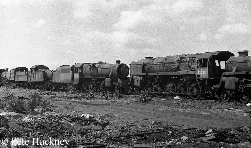 5526, 45293 and 92245 in Woodham's scrapyard - 1975