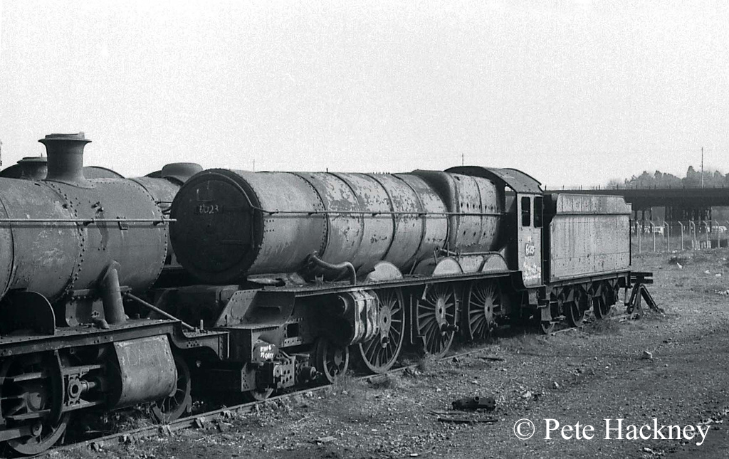 6023 King Edward II in Woodham's scrapyard at Barry - 1973.jpg