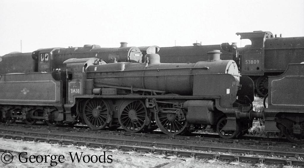 31638 in Woodham's scrapyard at Barry - June 1964.jpg
