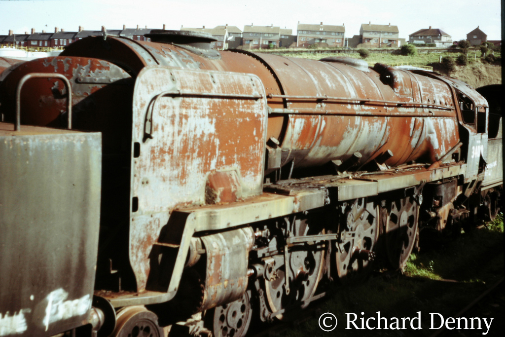 34010 Sidmouth in Woodham's scrapyard at Barry - 1973.jpg