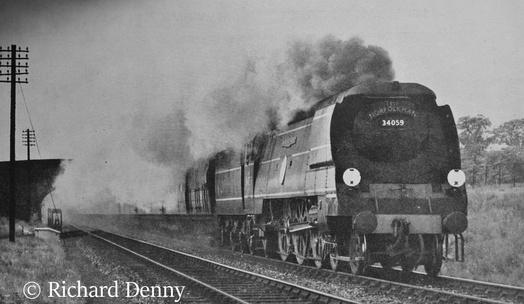 34059 Sir Archibaldv Sinclair making a foray onto the GE main line - May 1949.jpg