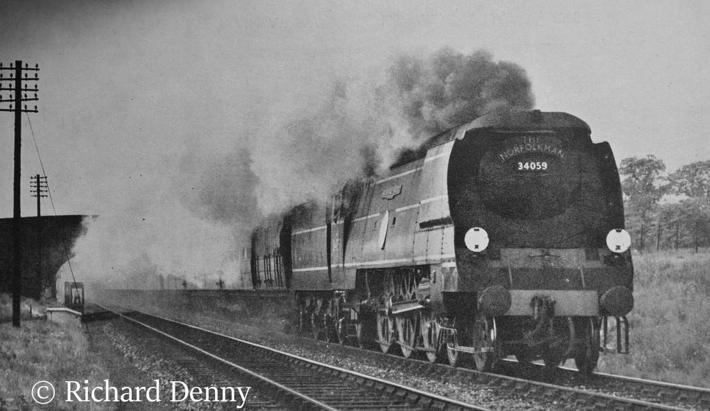 34059 Sir Archibaldv Sinclair making a foray onto the GE main line - May 1949.jpg