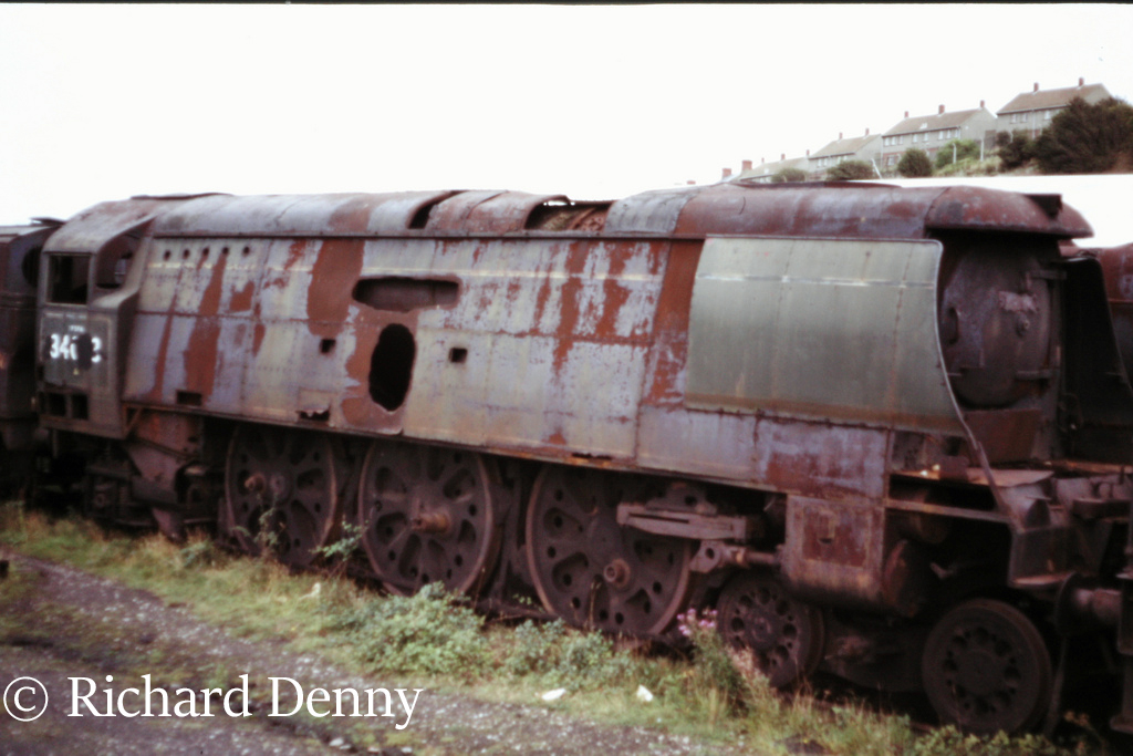 34073 249 Squadron in Woodham's scrapyard at Barry - September 1973.jpg