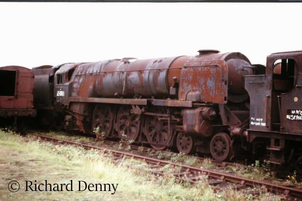35018 British India Line in Woodham's scrapyard at Barry - September 1973.jpg