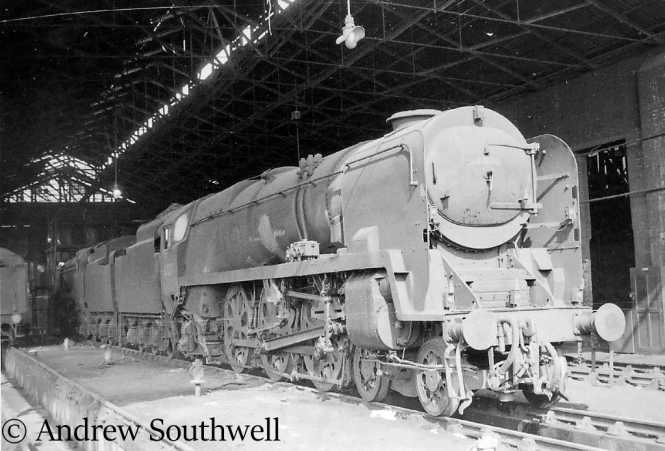 35027 Port Line on Nine Elms shed after being withdrawn from service - September 1966.jpg