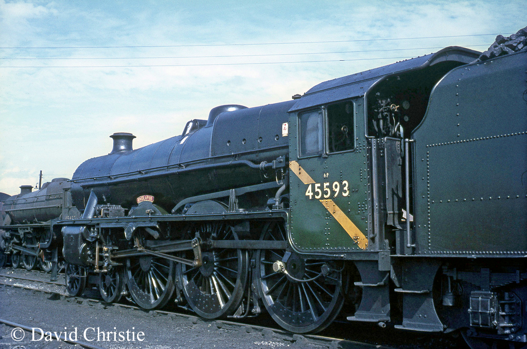 45593 Kholapur on Carlisle Kingmoor shed - August 1967.jpg