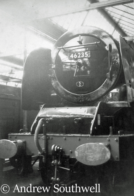 46235 City of Birmingham in the paintshop at Crewe Works after being withdrawn from service  - 1965.jpg