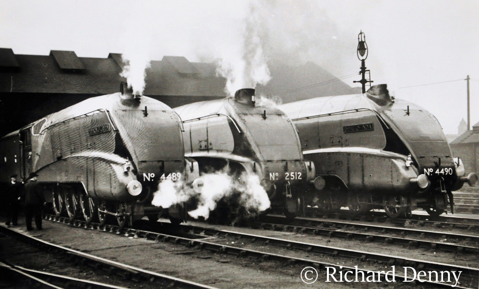 60010 (4489) Dominion of Canada on the left with 2512 Silver Fox and 4490 Empire of India on Kings Cross shed.jpg