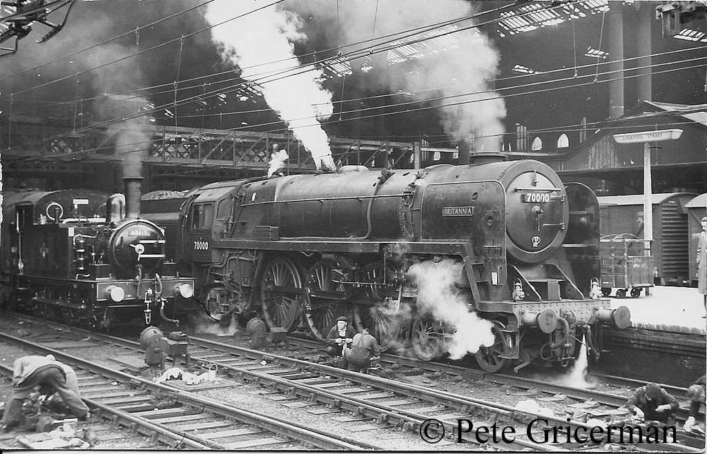 70000 Britannia at Liverpool street Station along with class J69 68619 which was the station pilot - circa 1961.jpg