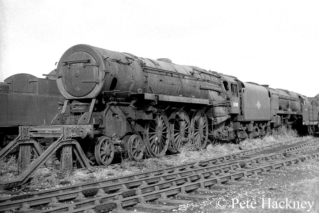 71000 Duke of Gloucester in Woodham's scrapyard at Barry - October 1968.jpg