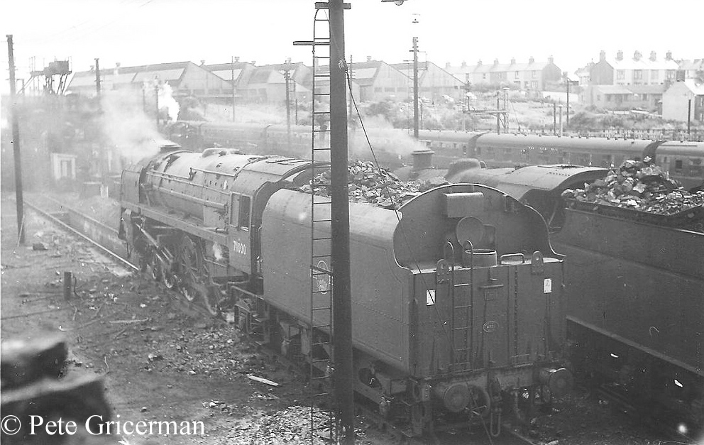 71000 Duke of Gloucester on the shed at Holyhead - August 1960.jpg