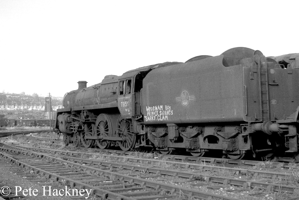 73156 in Woodham's scrapyard at Barry - October 1968.jpg