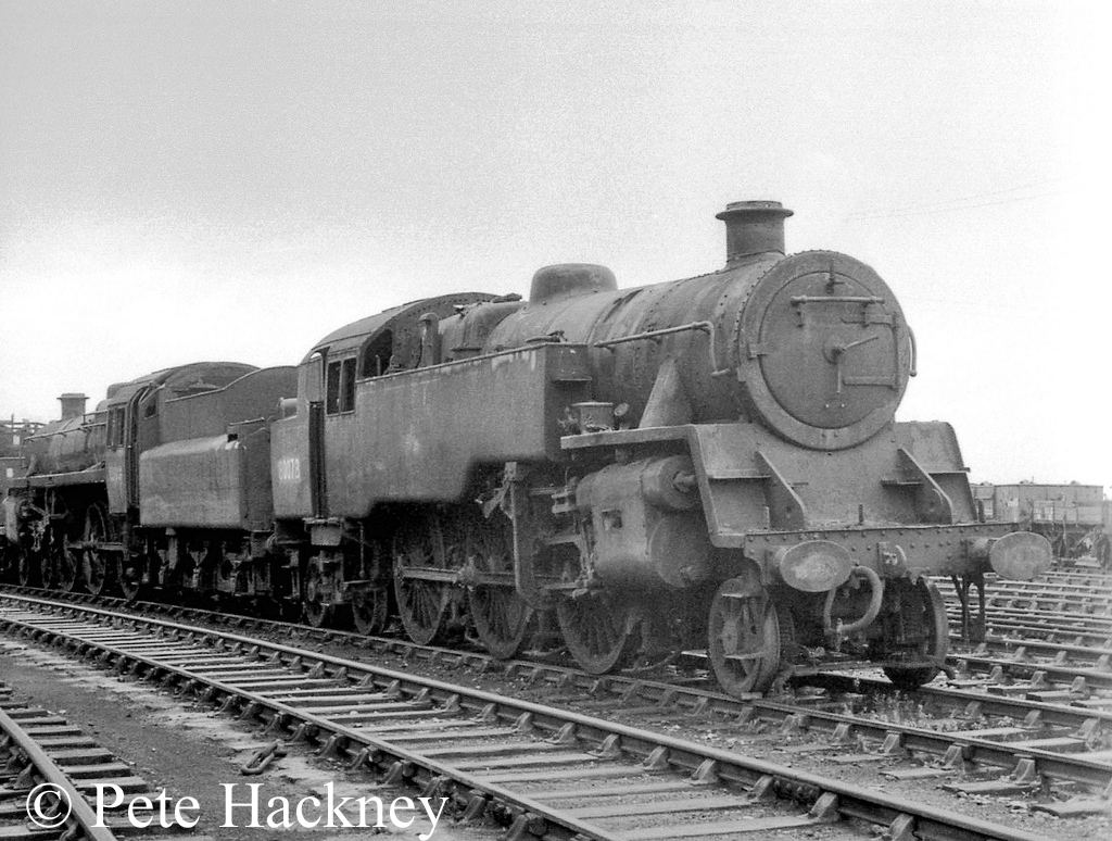 80078 in front of 75014 at Woodham's scrapyard in Barry - October 1968.jpg