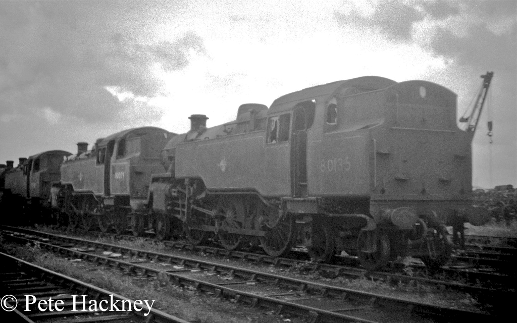 80079 in front of 80135 at Woodham's scrapyard in Barry - July 1968.jpg