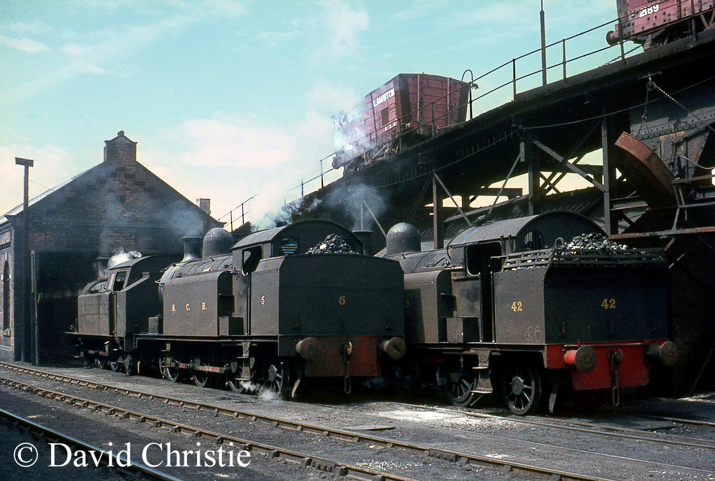 Robert Stephenson & Hawthorn Works No 3377 (No 5) at NCB's Philadelphia shed in the centre..jpg