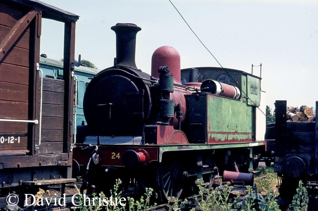W24 Calbourne in Havenstreet yard on the Isle of Wight Steam Railway - July 1975.jpg