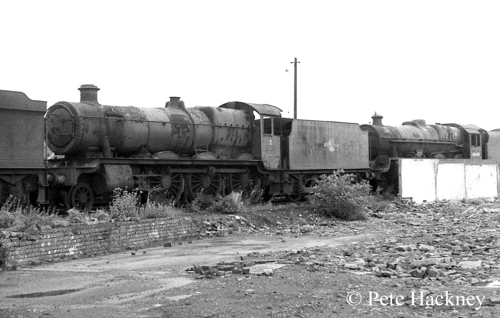 What was then considered to be 4983 Albert Hall, but was later discovered to be 4965 Rood Ashton Hall, in Woodham's scrapyard at Barry - October 1968.jpg