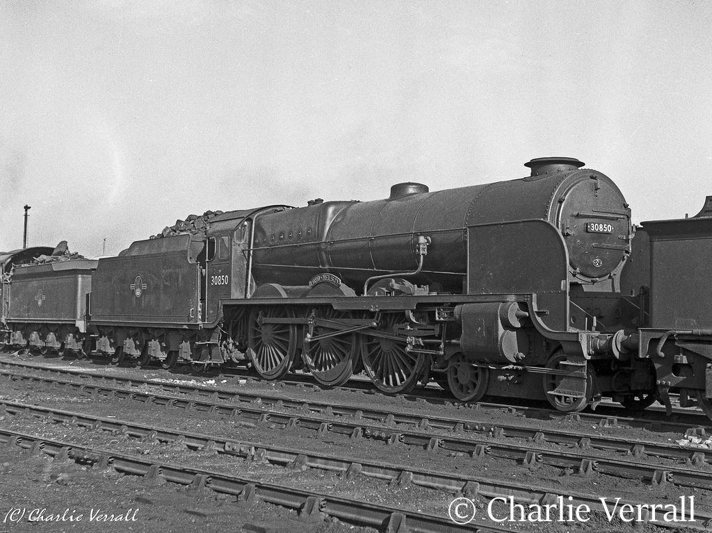 30850 Lord Nelson on Eastleigh shed – February 1962.jpg