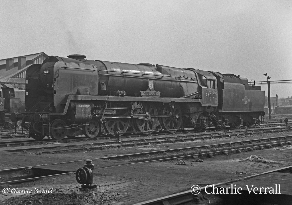 34010 Sidmouth on the shed at Nine Elms – September 1962.jpg