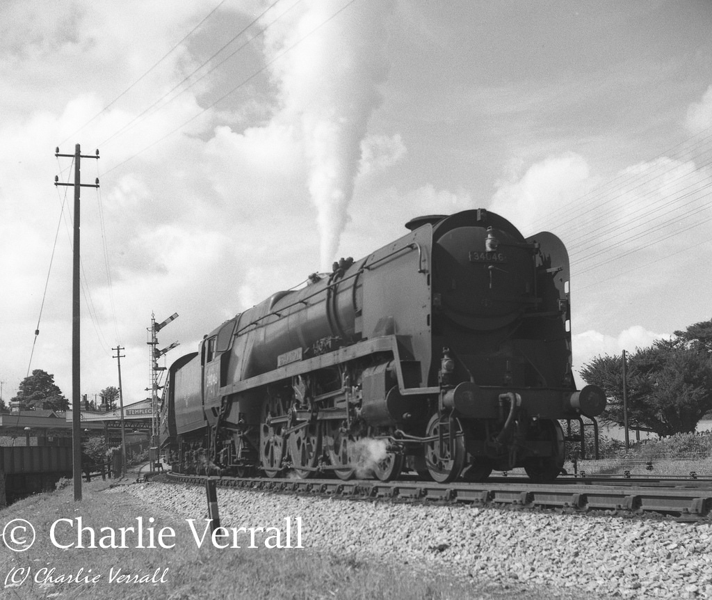 34046 Braunton leaving Templecombe with a train from Bournemouth to Bradford – August 1962.jpg