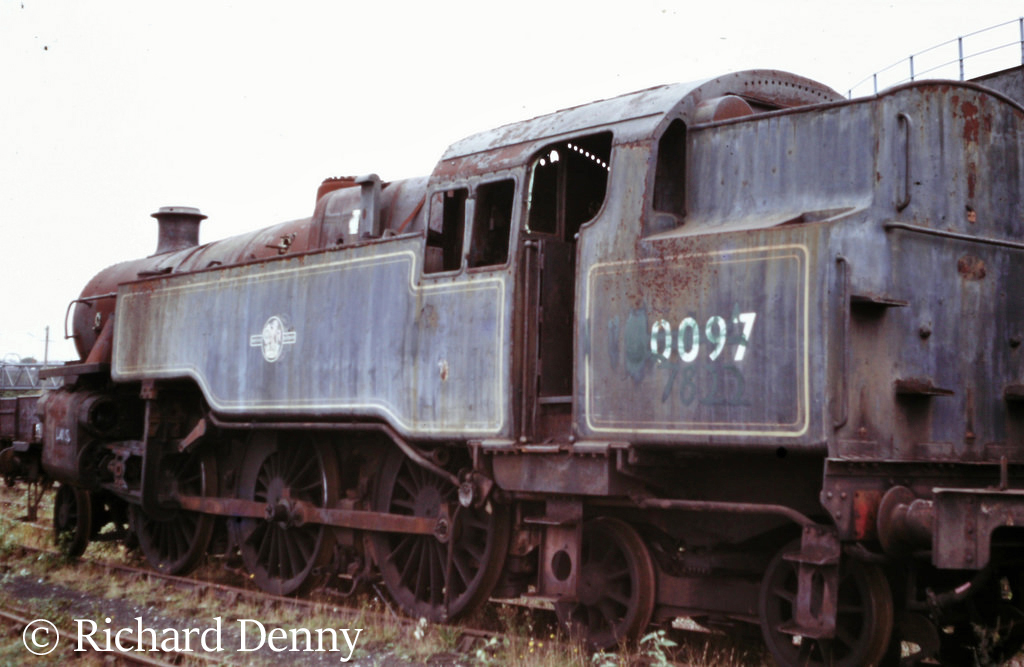 80097 in Woodham's scrapyard at Barry - September 1973.jpg