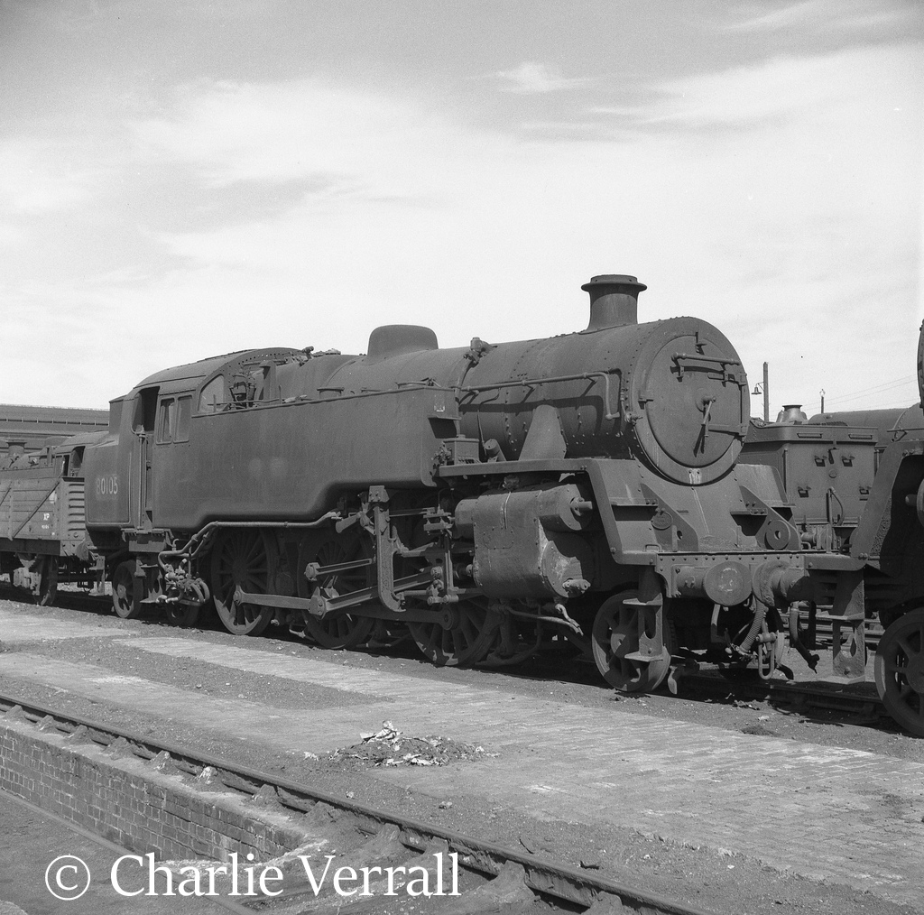 80105 on Old Oak Common shed – August 1962