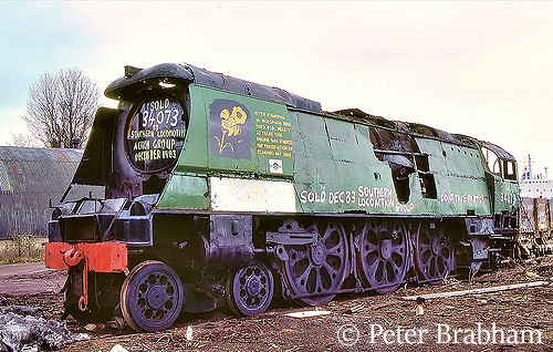 This image has an empty alt attribute; its file name is 34073-249-squadron-in-woodhams-scrapyard-at-barry-april-1984.jpg