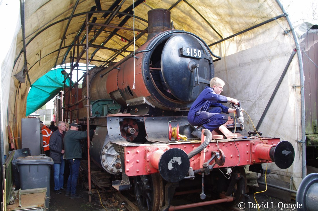 This image has an empty alt attribute; its file name is 4150-under-restoration-at-bewdley-on-the-severn-valley-railway-march-2015.jpg