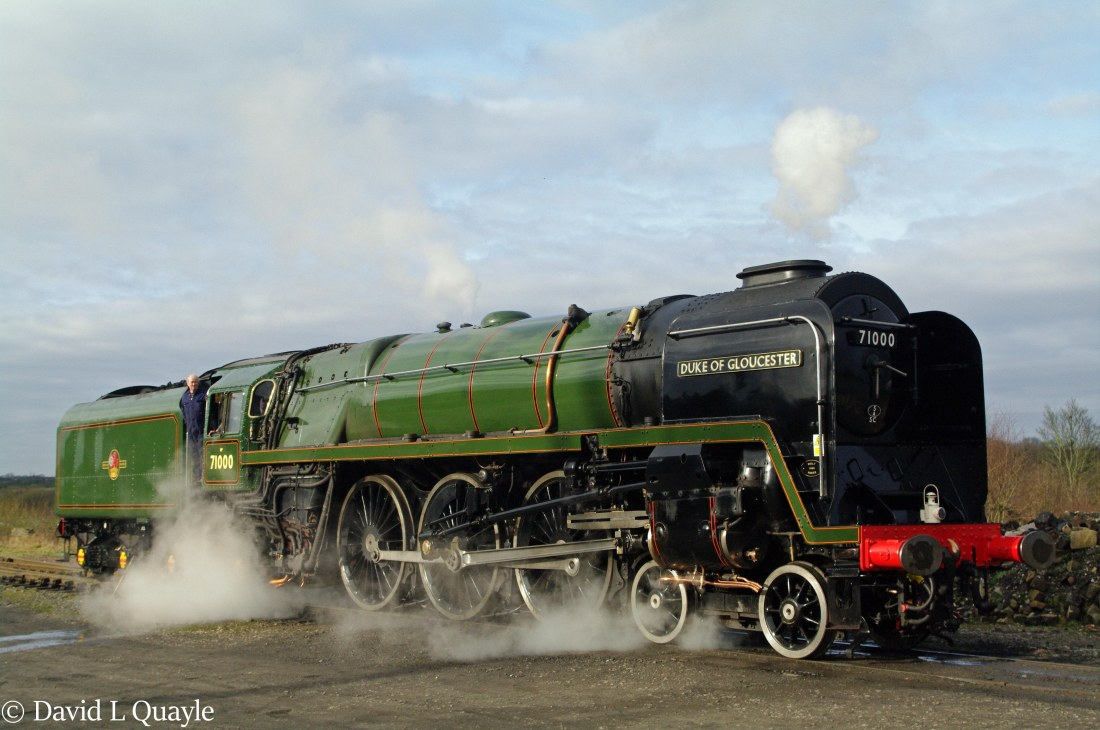 This image has an empty alt attribute; its file name is 71000-duke-of-gloucester-at-bury-on-the-east-lancashire-railway-february-2012.jpg